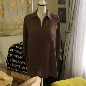 EUC brown flowy blouse